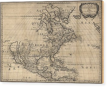 Map Of North America Continent Showing Wood Print by Everett