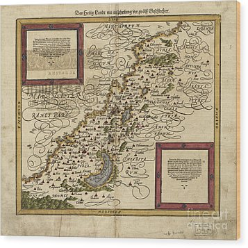 Map Of Palestine, 1588 Wood Print by Photo Researchers