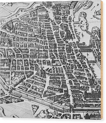 Map Of Paris Wood Print by German School