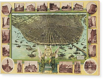 Map Of Saint Louis Wood Print by Pg Reproductions