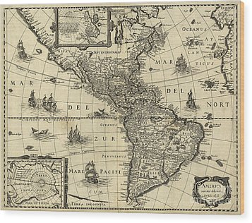 Map Of The Americas 1640 Wood Print by Photo Researchers