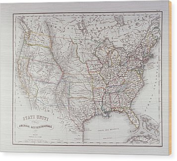 Map Of The Northen United States Wood Print by Fototeca Storica Nazionale