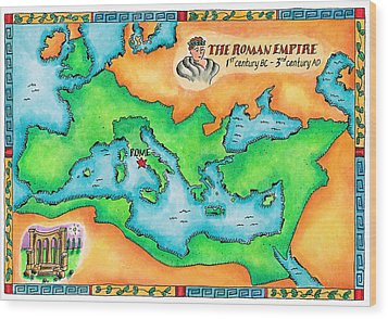 Map Of The Roman Empire Wood Print by Jennifer Thermes