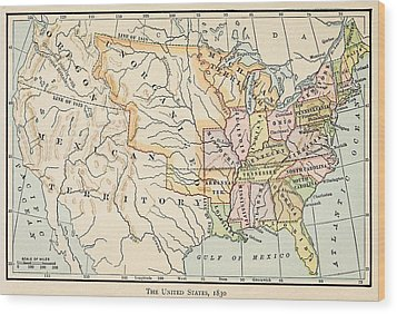 Map Of The United States In 1830 Wood Print by Everett
