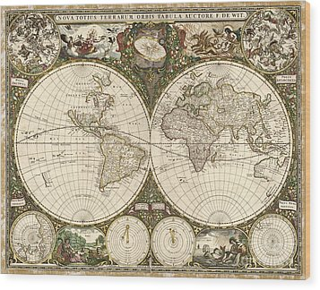 Map Of The World, 1660 Wood Print by Photo Researchers