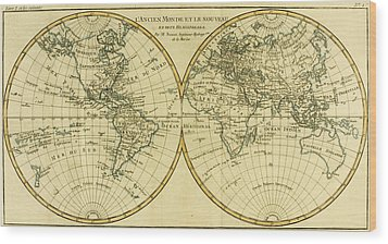 Map Of The World In Two Hemispheres Wood Print by Guillaume Raynal