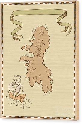 Map Treasure Island Tall Ship Wood Print by Aloysius Patrimonio