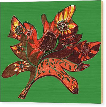 Maple Leaf With Sunflowers Wood Print by Barbara Giordano
