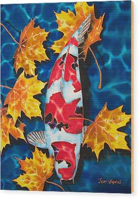 Maple Leaves And Koi Wood Print by Daniel Jean-Baptiste