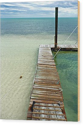Marathon Dock Florida Keys Wood Print by Jo Sheehan
