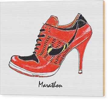 Marathon Wood Print by Lynn Blake-John