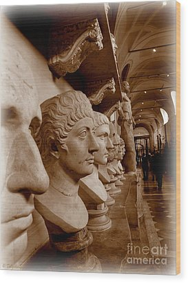 Wood Print featuring the photograph Marble Busts. Vatican by Tanya  Searcy