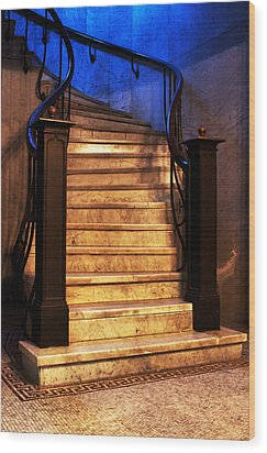 Marble Stairs Wood Print by Michelle Joseph-Long