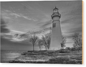 Marblehead Lighthouse In Black And White Wood Print by At Lands End Photography