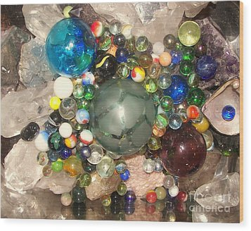 Marbles And Other Things Shiny Wood Print by Rachel Carmichael