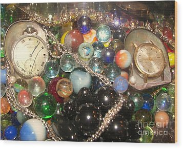Marbles And Pocket Watches Wood Print by Rachel Carmichael