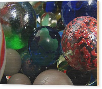 Marbles Around The World Wood Print by K Walker