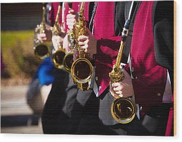 Marching Band Saxophones  Wood Print by James BO  Insogna