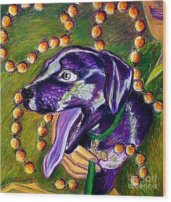 Wood Print featuring the painting Mardi Dog by D Renee Wilson