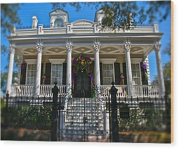 Wood Print featuring the photograph Mardi Gras House by Jim Albritton