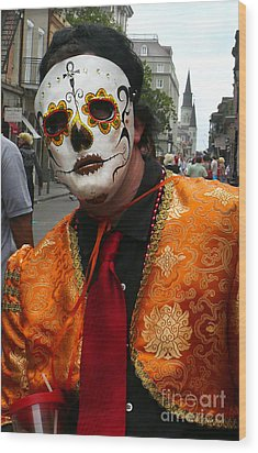 Wood Print featuring the photograph Mardi Gras Man In Mask by Jeanne  Woods