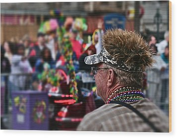 Wood Print featuring the photograph Mardi Gras Man by Jim Albritton