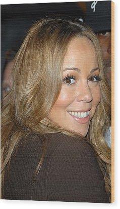 Mariah Carey At Talk Show Appearance Wood Print by Everett