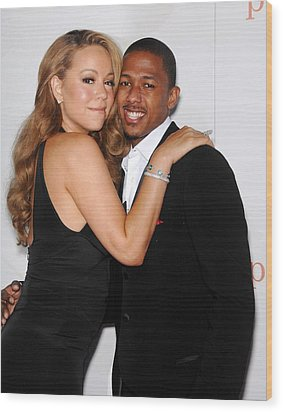 Mariah Carey, Nick Cannon At Arrivals Wood Print by Everett
