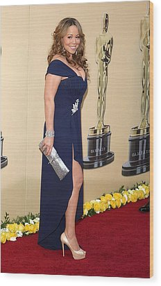 Mariah Carey Wearing A Valentino Gown Wood Print by Everett
