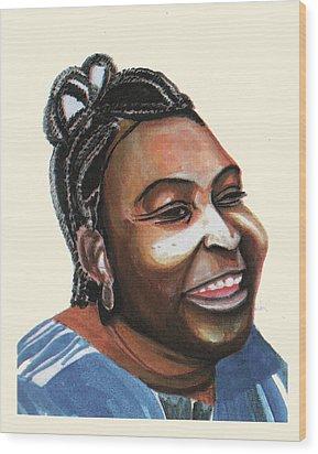 Mariama Ba Wood Print by Emmanuel Baliyanga