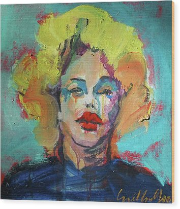 Wood Print featuring the painting Marilyn 2010 by Les Leffingwell