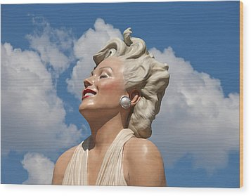 Marilyn In The Clouds Wood Print by Matthew Bamberg