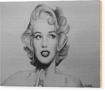 Marilyn Monroe 2 Wood Print by Carlos Velasquez Art