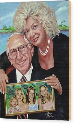 Wood Print featuring the painting Marilyn's Inlaws And Their Grandchildren by Nancy Tilles
