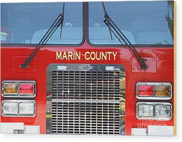 Marin County Fire Department Fire Engine . Point Reyes California . 7d15922 Wood Print by Wingsdomain Art and Photography
