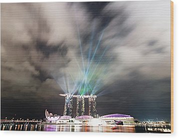 Marina Bay Colourful Night Wood Print by Paul Biris