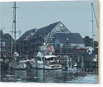 Wood Print featuring the painting Marina On Chesapeake Bay by Elinor Mavor