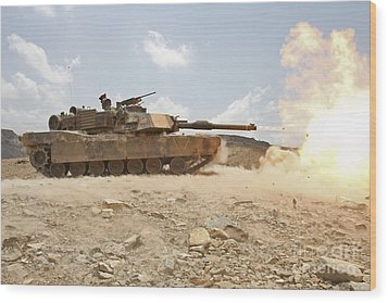 Marines Bombard Through A Live Fire Wood Print by Stocktrek Images