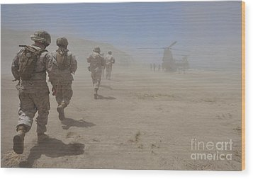 Marines Move Through A Dust Cloud Wood Print by Stocktrek Images