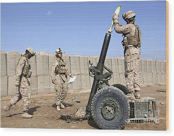 Marines Prepare To Fire A 120mm Mortar Wood Print by Stocktrek Images