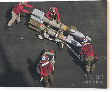 Marines Push Pordnance Into Place Wood Print by Stocktrek Images