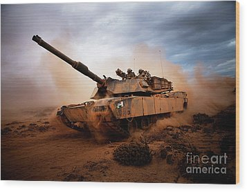 Marines Roll Down A Dirt Road Wood Print by Stocktrek Images
