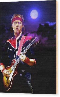 Mark Knopfler Guitar Hero Wood Print by Steve K