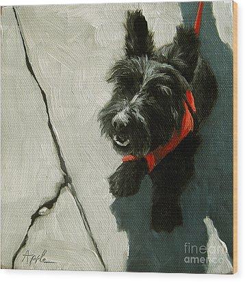 Market Day - Scottie Dog Wood Print by Linda Apple