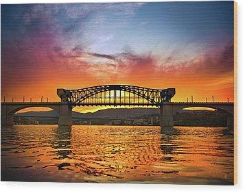 Market Street Bridge Wood Print by Steven Llorca
