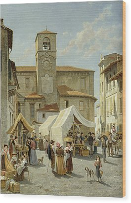 Marketday In Desanzano  Wood Print by Jacques Carabain