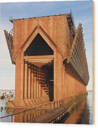 Wood Print featuring the photograph Marquette Ore Docks by Mark J Seefeldt