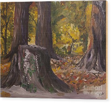 Marr Park Trees Of Fall Wood Print by Art Hill Studios