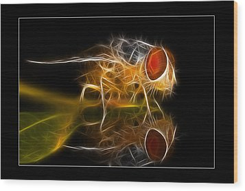 Wood Print featuring the digital art Mars Fly 02 by Kevin Chippindall