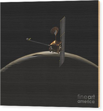 Mars Odyssey Spacecraft Over Martian Wood Print by Stocktrek Images